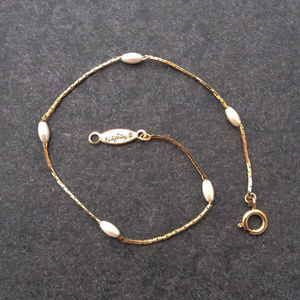 Vintage Gold and Seed Pearl Bracelet by Napier